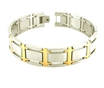 Men's Stainless Steel Bracelet With Gold Tone Links