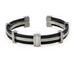 Men's Titanium Bracelet With Black Cables and Five Stations