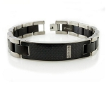 Titanium Men's Bracelet With Black Carbon Fiber Inlay and CZ