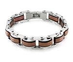 Men's Stainless Steel Bracelet With Brown and Black PVD Accents