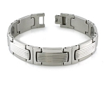 Men's Bracelet in Stainless Steel With Grooved Center Links