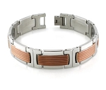 Men's Bracelet in Stainless Steel With Grooved Rose Gold Accents
