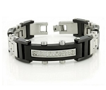 Black Stainless Steel Bracelet For Men With CZ Center and Studs