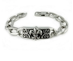 Men's Stainless Steel Chain Bracelet With Fleur de Lis
