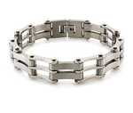 Men's Titanium Bracelet With Polished and Matte Finish Links