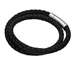 Braided Double Wrap Men's Leather Bracelet in Black