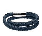 Double Wrap Blue Leather Bracelet for Men, Braided Design