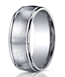 Designer 10 mm Engraved & Spun Satin Finish Argentium Silver Wedding Band - JBS1001