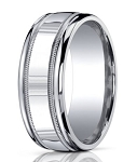 Designer 10 mm Engraved & Polished Finish Argentium Silver Wedding Band - JBS1002