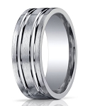 Designer 10 mm Engraved & Satin Finish Argentium Silver Wedding Band - JBS1004