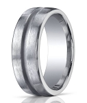 Designer 10 mm Engraved & Satin Finish Argentium Silver Wedding Band - JBS1005