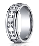 Designer Argentium Silver Cross Design Wedding Ring with Polished Finish | 10mm - JBS1007