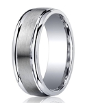 Designer Argentium Silver Step Down Wedding Ring with Satin Finish and Polished Edges | 7mm - JBS1012
