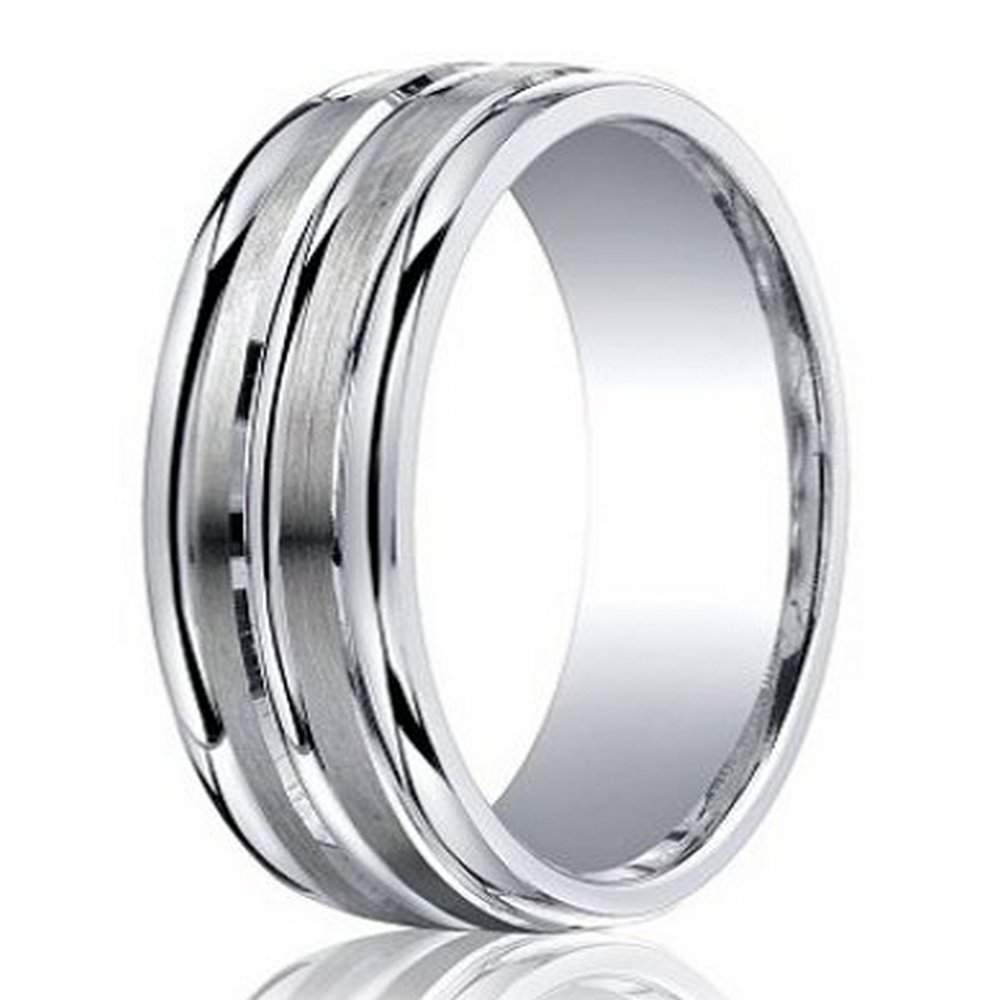 Benchmark Argentium Silver Mens Wedding Band Triple Line 7mm