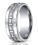 Designer Silver Argentium Men's Ring With T-Pattern | 10mm
