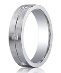 Satin Finished Silver Wedding Band with Center Groove and 6 Round Diamonds | 5mm - JBSD1001