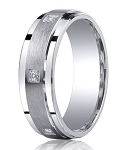 Satin Finished Silver Wedding Band with 6 Round Diamonds in Square Setting | 7mm