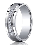 Satin Finished Silver Wedding Band with 9 Round Cut Diamonds and Polished Edges | 7mm - JBSD1003