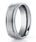 Benchmark Titanium Satin Finish Rounded Edge Men's Wedding Ring | 6mm