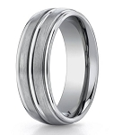 Benchmark Satin Finish Titanium Wedding Ring with Polished Trim | 8mm