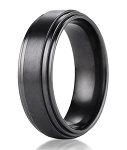Benchmark Black Titanium Men's Wedding Ring with Step Down Edges | 8mm