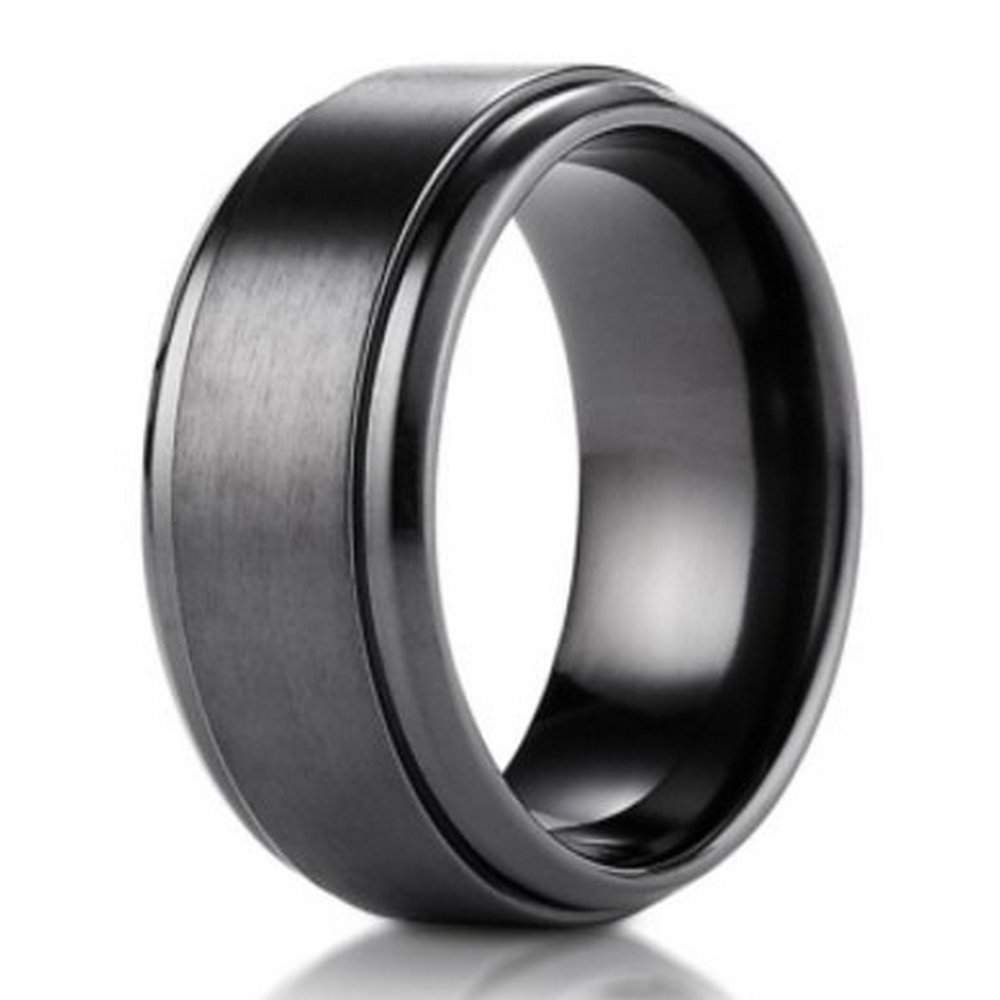 Black Titanium Benchmark Men39;s Wedding Ring with Stair Step Edges