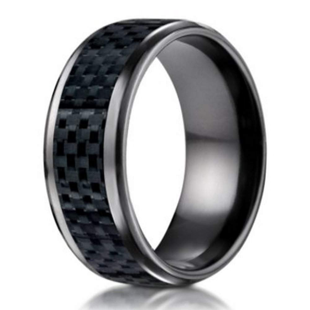 Men 39 S Black Titanium Wedding Band 8mm Promise Ring W Carbon Fiber Inlay
