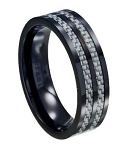 Black Ceramic Ring with Gray Carbon Fiber Inlay - JC0001