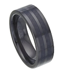 Black Ceramic Ring With Black Carbon Fiber Inlay - JC0002