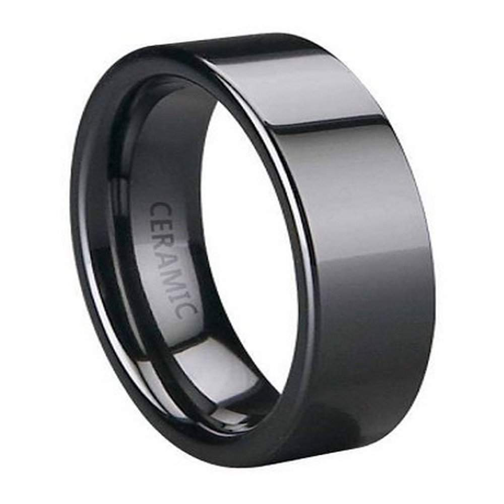 Black Ceramic Wedding Ring For Men Polished Flat Profile 6mm