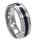 Men's Cobalt Chrome Ring with Carbon Fiber Inlay and Polished Edges | 8mm - JCB0100