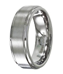 Men's Cobalt Chrome Wedding Ring with Satin Finish and Polished Edges | 8mm - JCB0104