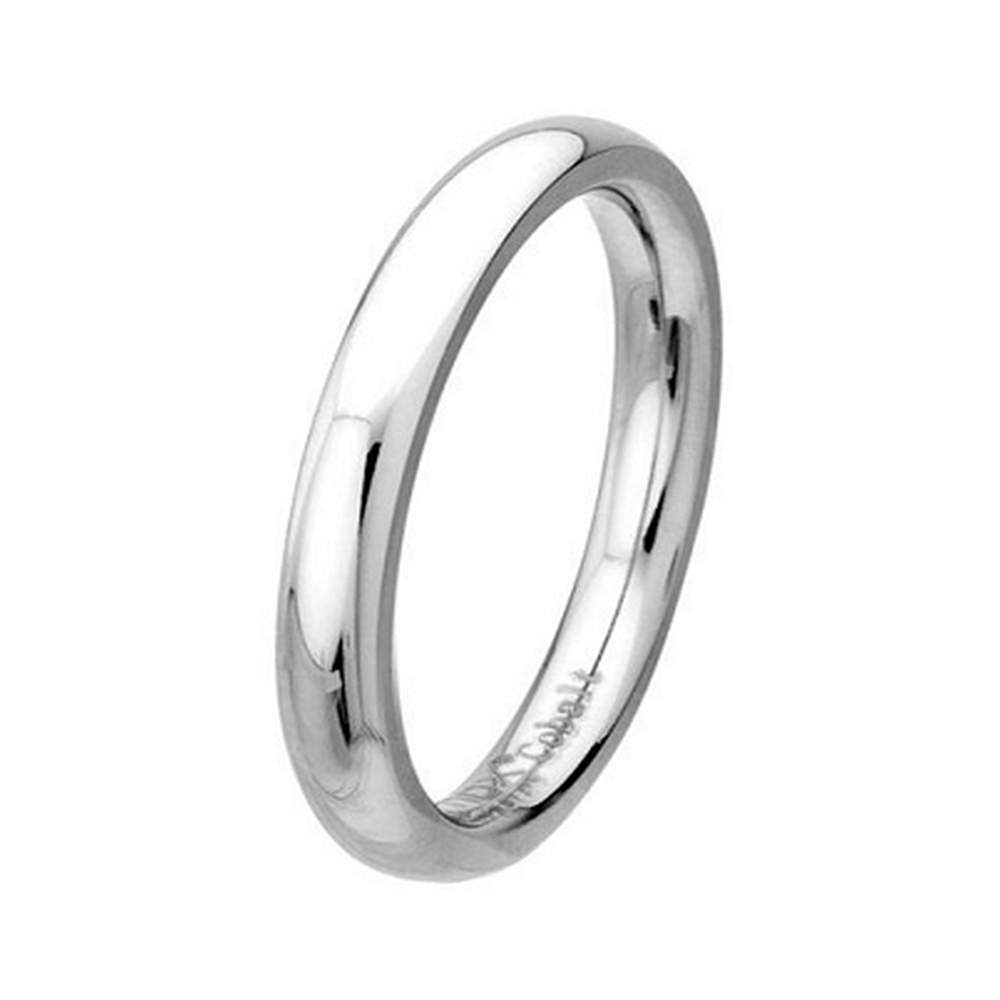 mens wedding ring in cobalt chrome classic polished finish 3mm