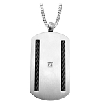 Men's Stainless Steel Black Cable Pendant with CZ - JN1001