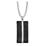Men's Black PVD Stainless Steel Cable Pendant - JN1002