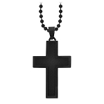 PVD Stainless Steel and Black Carbon Fiber Cross Pendant - JN1006