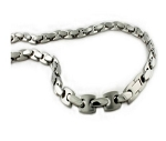 Men's Stainless Steel Necklace With Alternating Texture Links