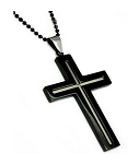Men's Stainless Steel Pendant With Black IP Cross