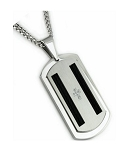 Men's Stainless Steel Pendant With CZ Cross and Black Cable