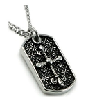 Men's Stainless Steel Pendant With Fleur de Lis Cross