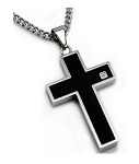 Men's Stainless Steel Pendant With Black Enamel Cross and CZ