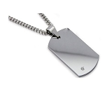 Men's Tungsten Dog Tag Pendant With Single Diamond