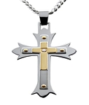Two Tone Stainless Steel Pendant With Crosses and Cubic Zirconia