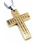 Gold Plated Stainless Steel Men's Cross Pendant