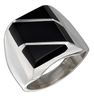 Men's Large Onyx Rectangular Striped Silver Ring - JP1386