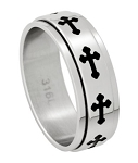 Latin Cross Spinner Band in Stainless Steel - JSS0051