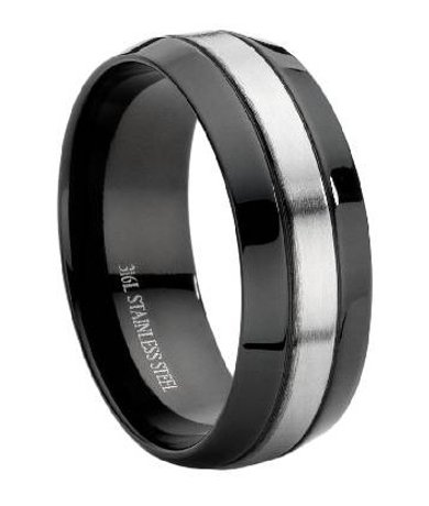 Stainless Steel Black Men 39 S Wedding Band Large Promise Ring