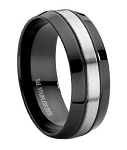 Black Stainless Steel Wedding Band - JSS0096