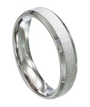 Stainless Steel Wedding Ring with Brushed Finish and Beveled Edges - JSS0104