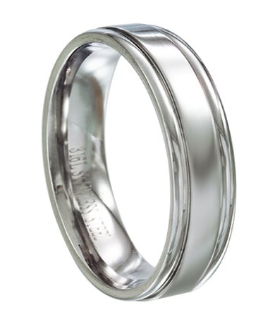 Stainless Steel Mens Wedding Ring Polished Groove Design 6mm